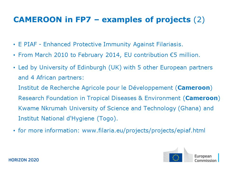 CAMEROON in FP7 – examples of projects (2)