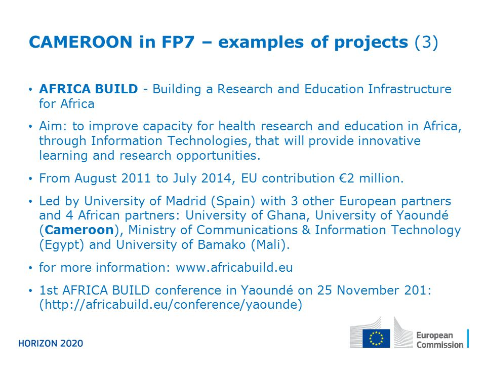 CAMEROON in FP7 – examples of projects (3)
