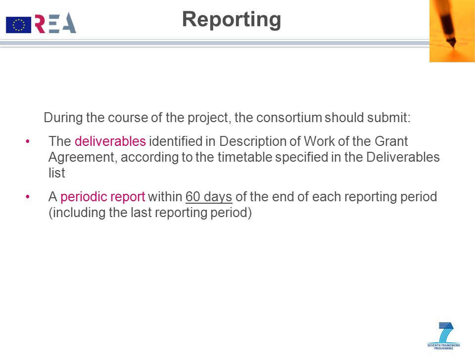 Reporting During the course of the project, the consortium should submit:
