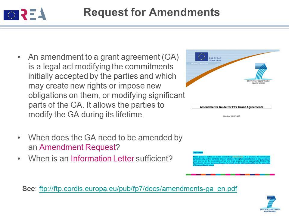 Request for Amendments