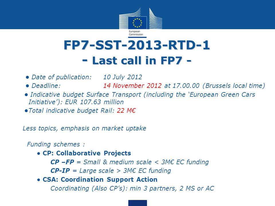 FP7-SST-2013-RTD-1 - Last call in FP7 -