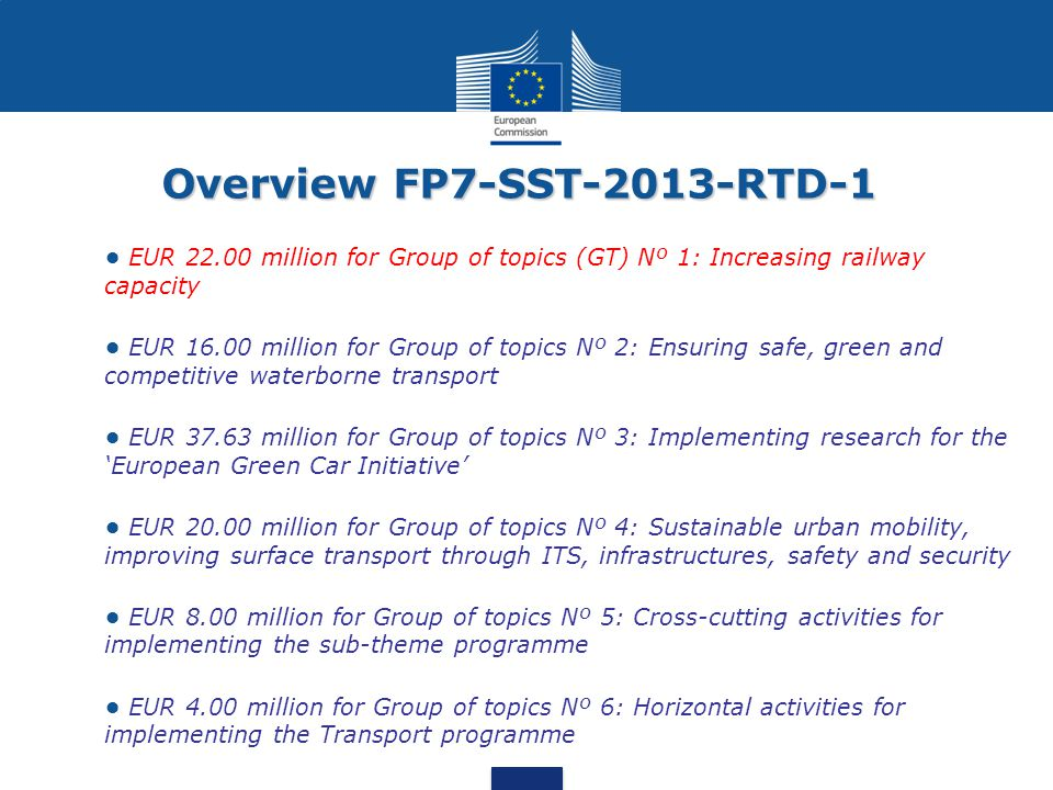 Overview FP7-SST-2013-RTD-1