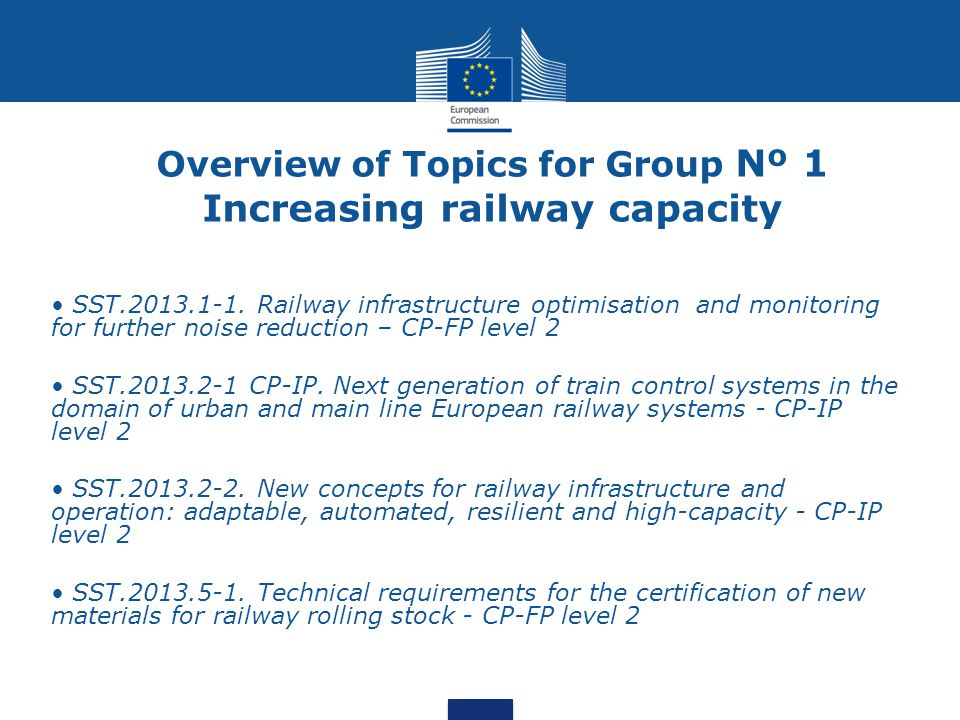 Overview of Topics for Group Nº 1 Increasing railway capacity