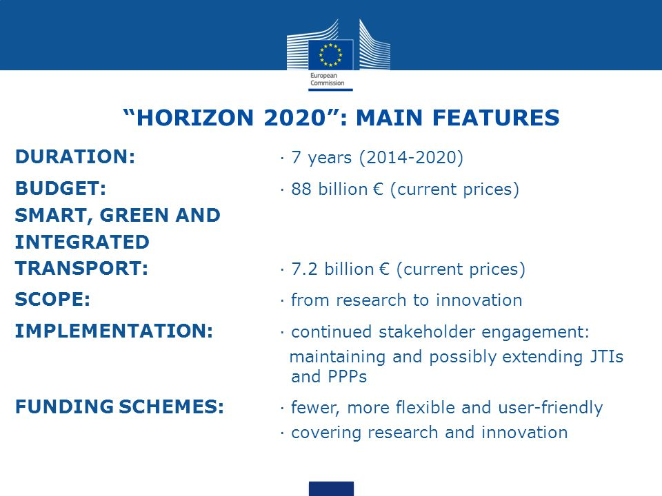 HORIZON 2020 : MAIN FEATURES