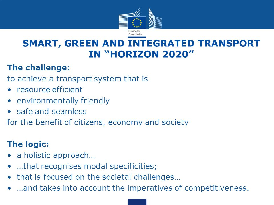 SMART, GREEN AND INTEGRATED TRANSPORT IN HORIZON 2020
