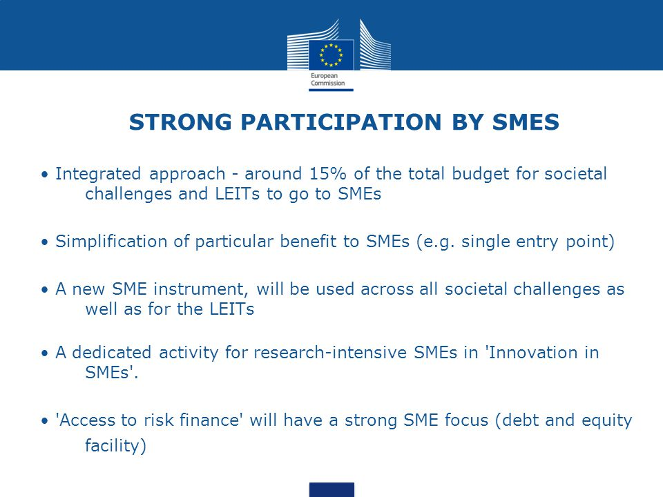 STRONG PARTICIPATION BY SMES