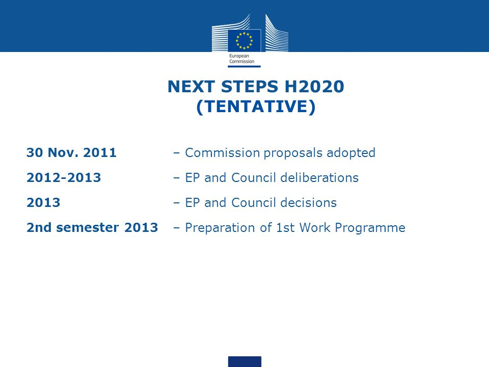 NEXT STEPS H2020 (TENTATIVE)