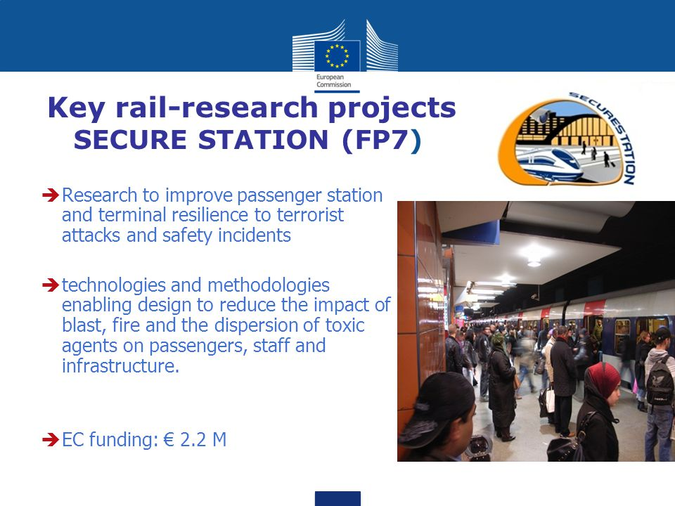 Key rail-research projects SECURE STATION (FP7)