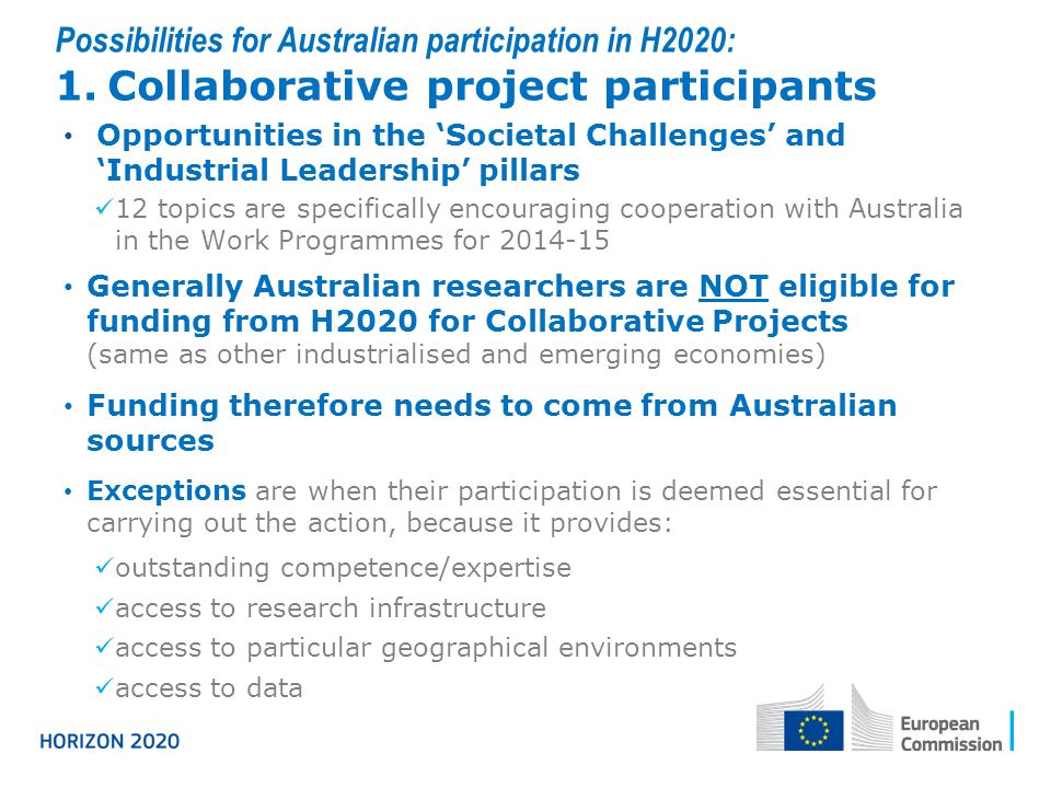 Possibilities for Australian participation in H2020: 1