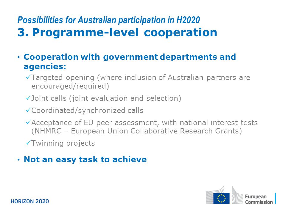 Possibilities for Australian participation in H2020 3