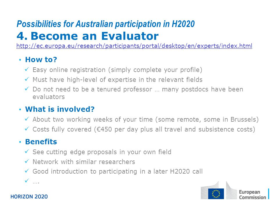 Possibilities for Australian participation in H2020 4