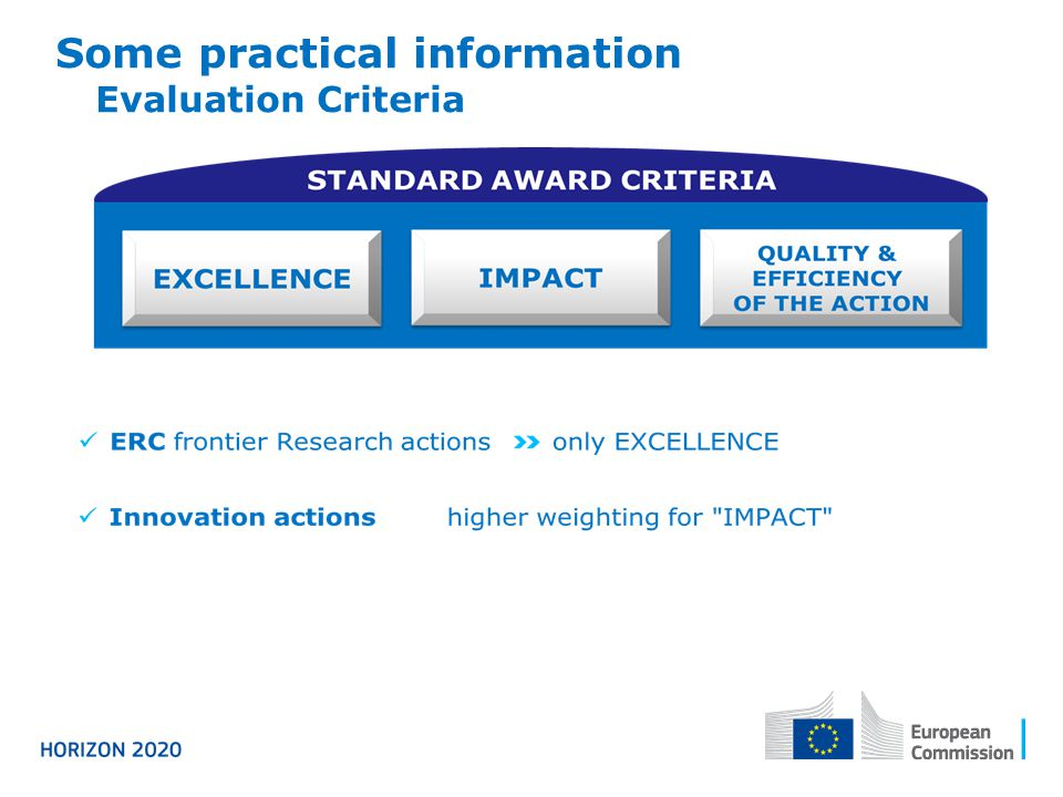 Some practical information Evaluation Criteria