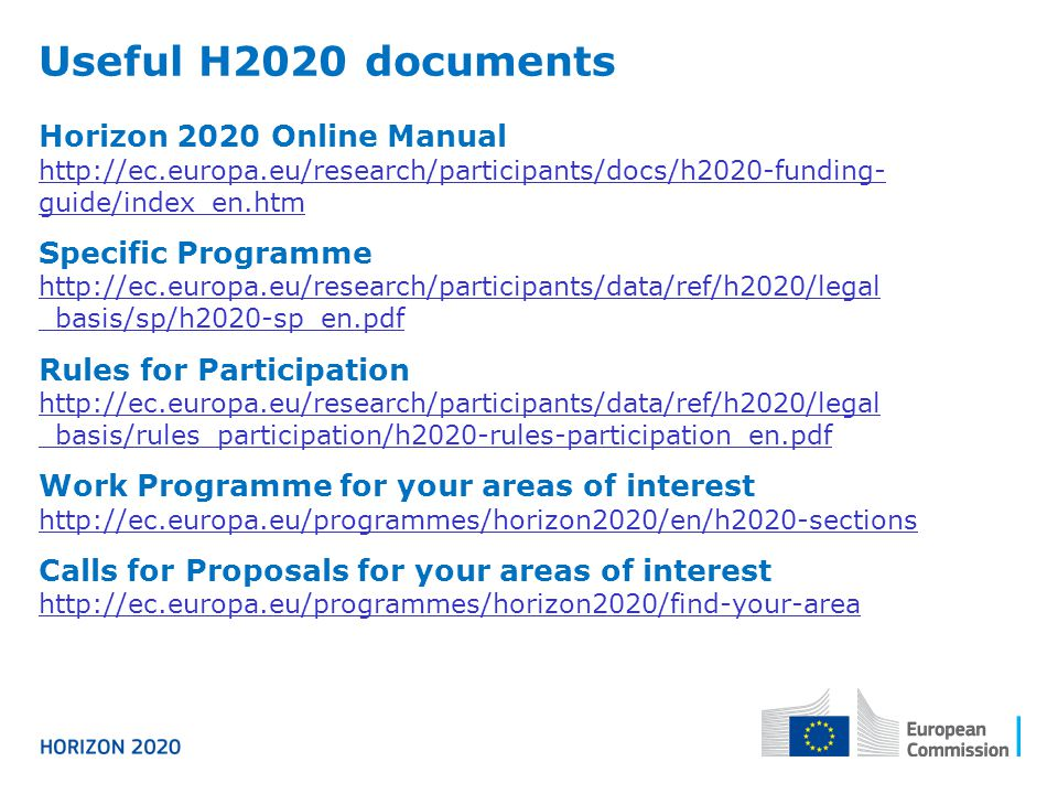 Useful H2020 documents Horizon 2020 Online Manual Specific Programme