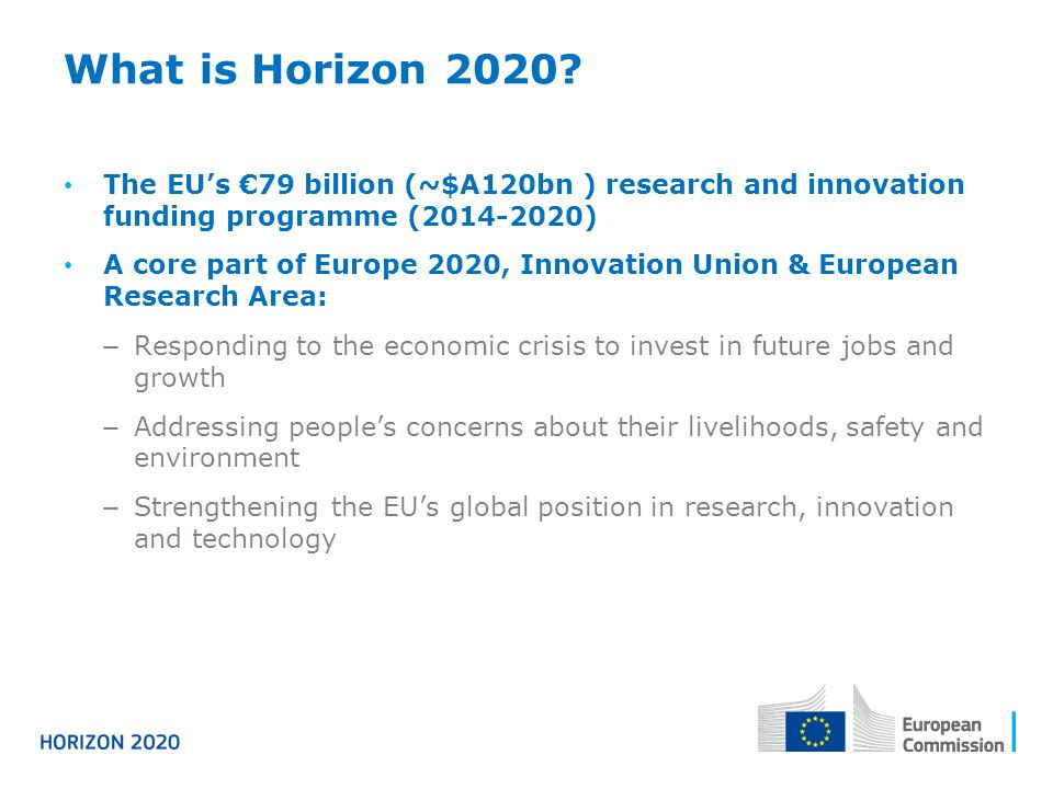 What is Horizon 2020 The EU's €79 billion (~$A120bn ) research and innovation funding programme (2014-2020)