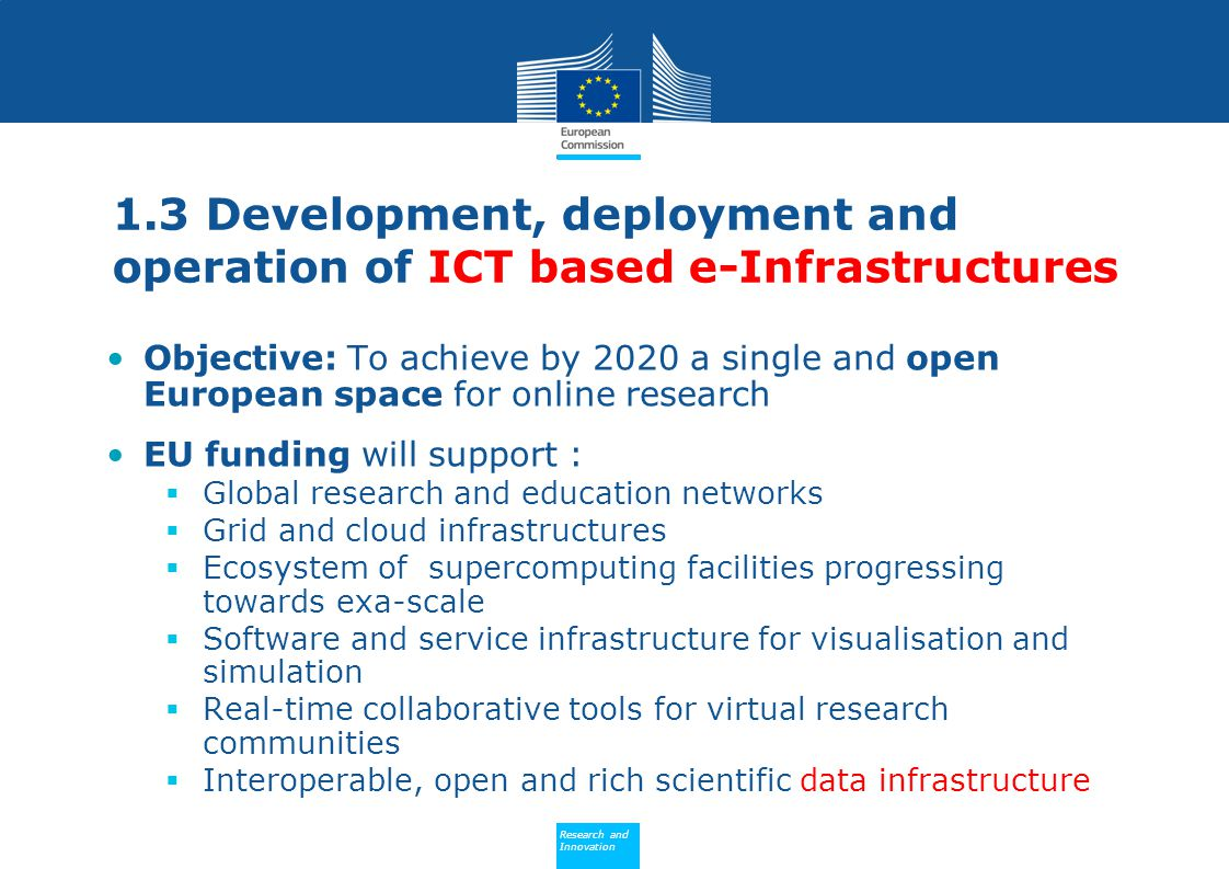 1.3 Development, deployment and operation of ICT based e-Infrastructures