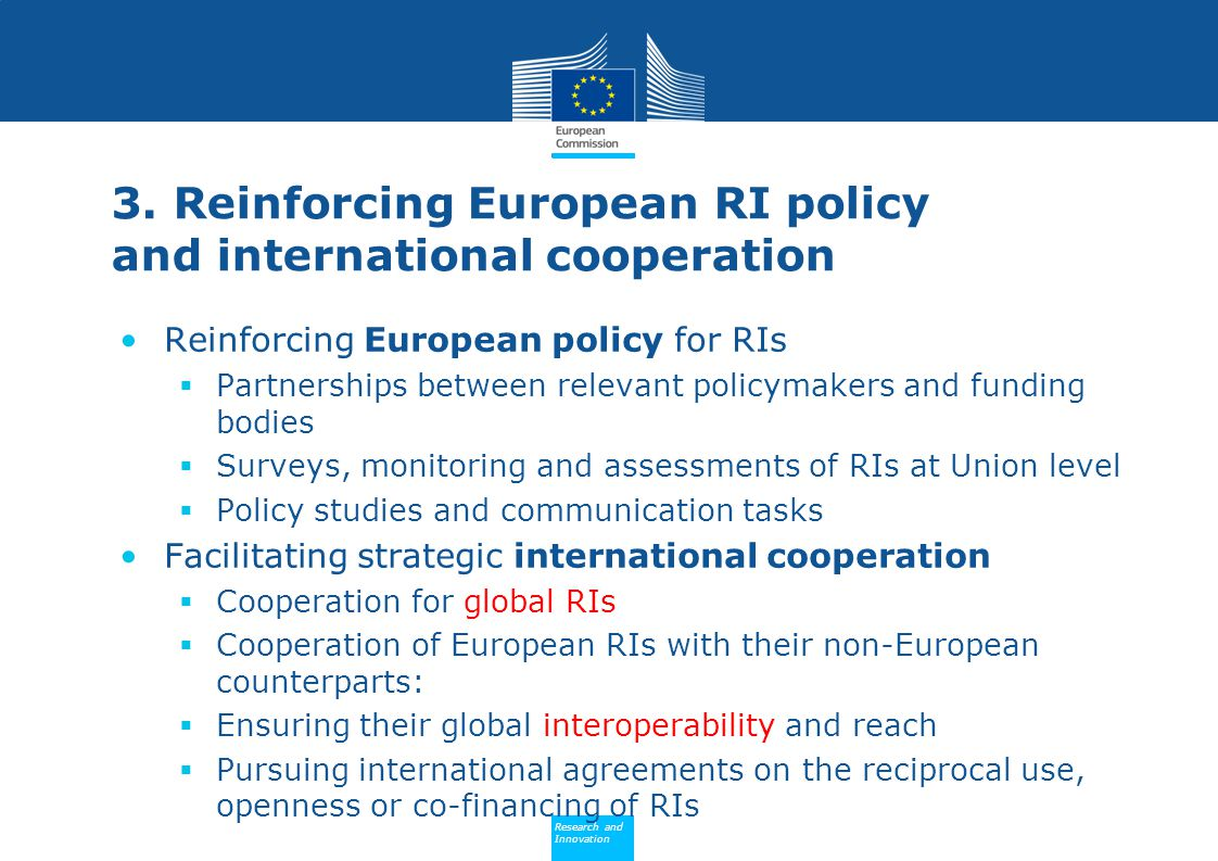 3. Reinforcing European RI policy and international cooperation