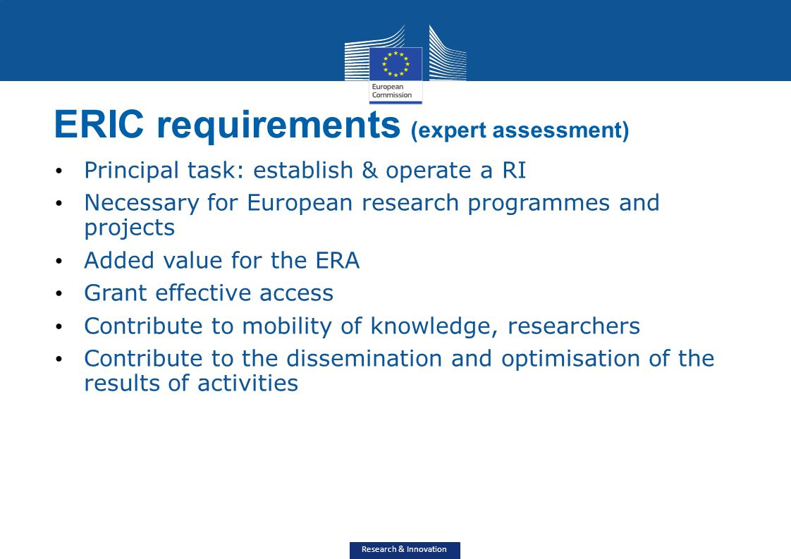 ERIC requirements (expert assessment)