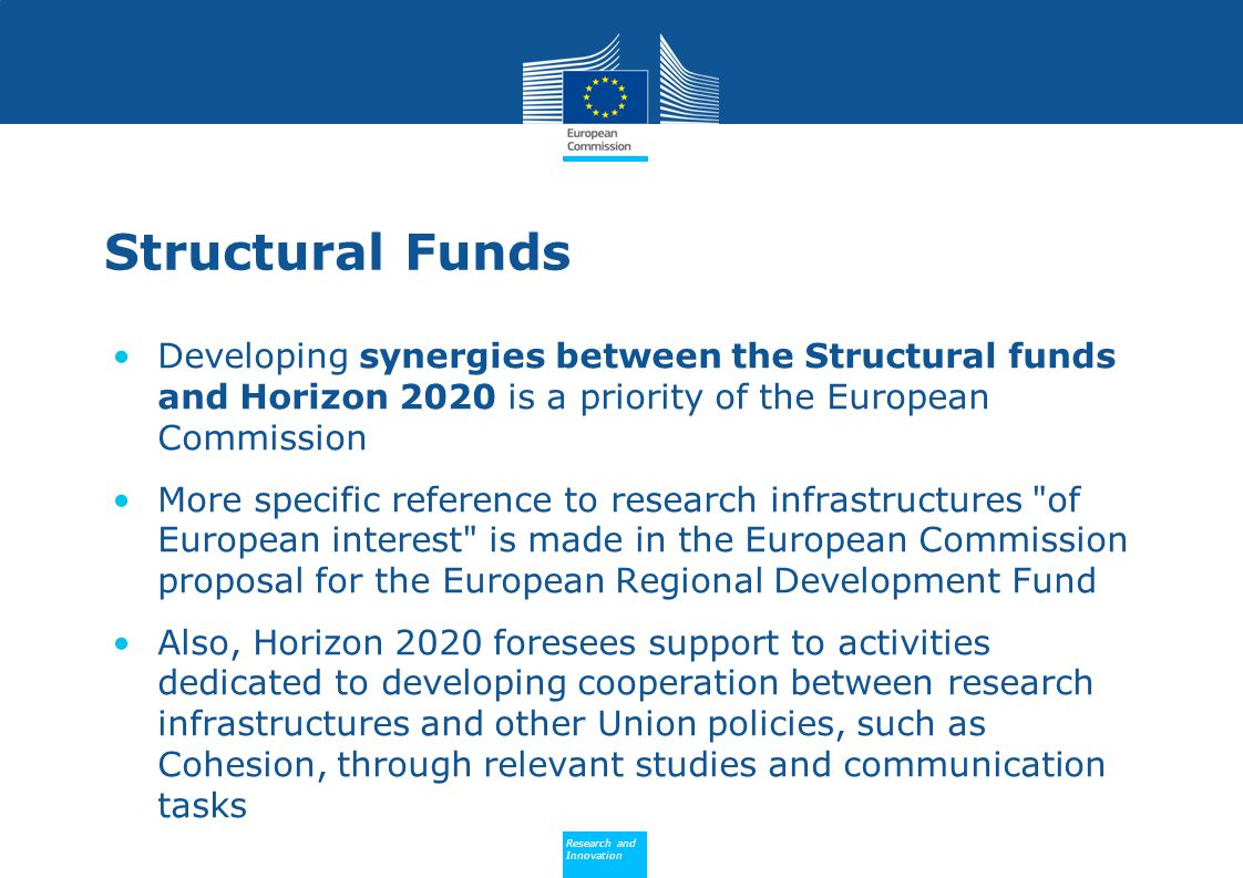 Structural Funds Developing synergies between the Structural funds and Horizon 2020 is a priority of the European Commission.