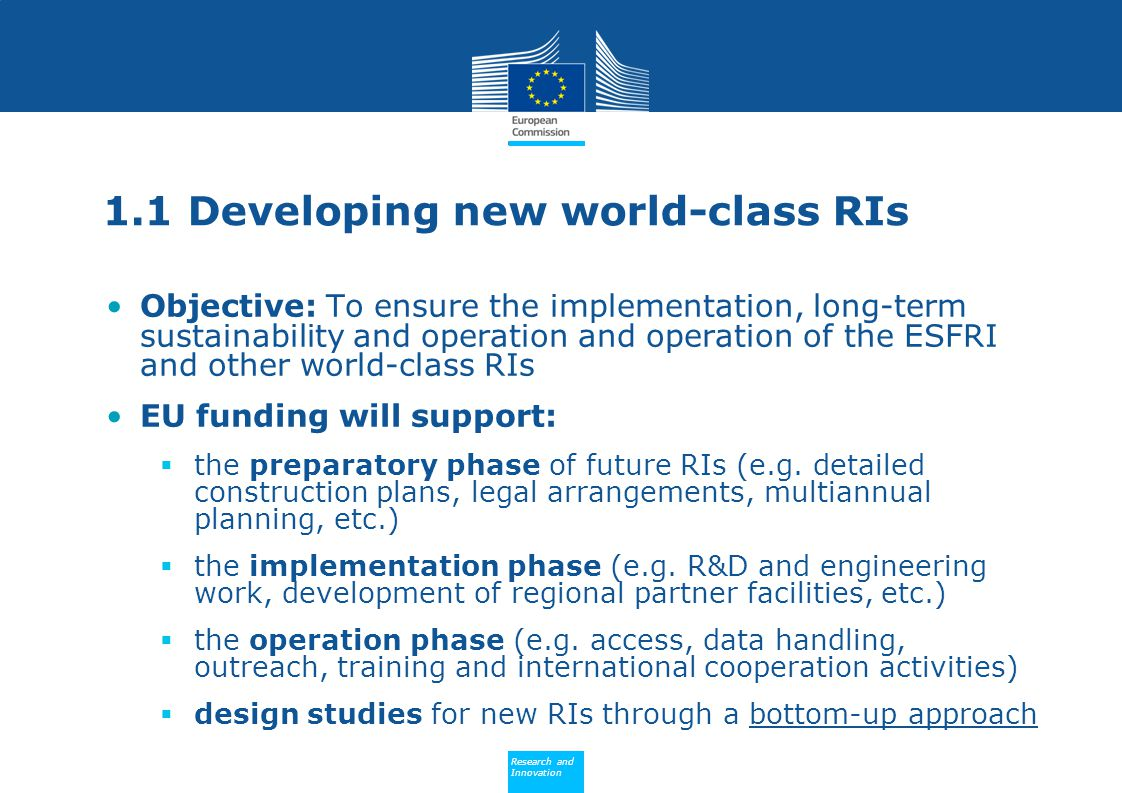 1.1 Developing new world-class RIs