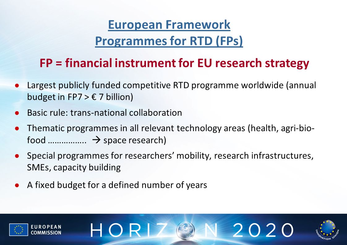 European Framework Programmes for RTD (FPs)