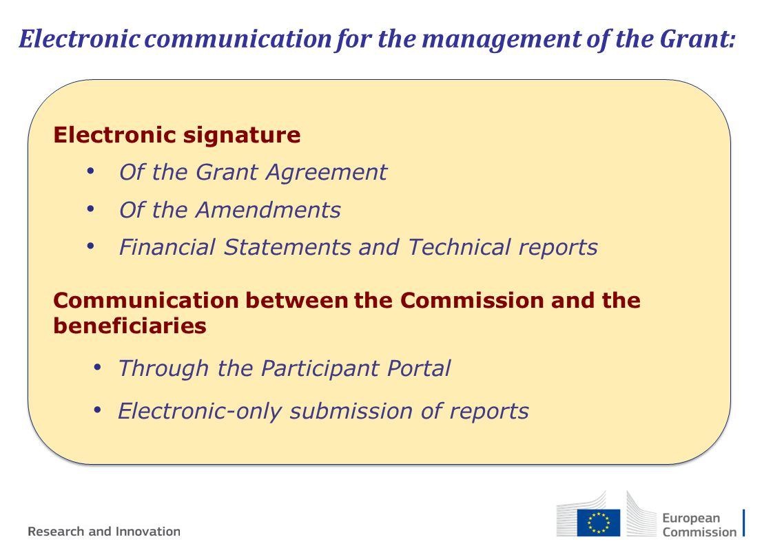 Electronic communication for the management of the Grant: