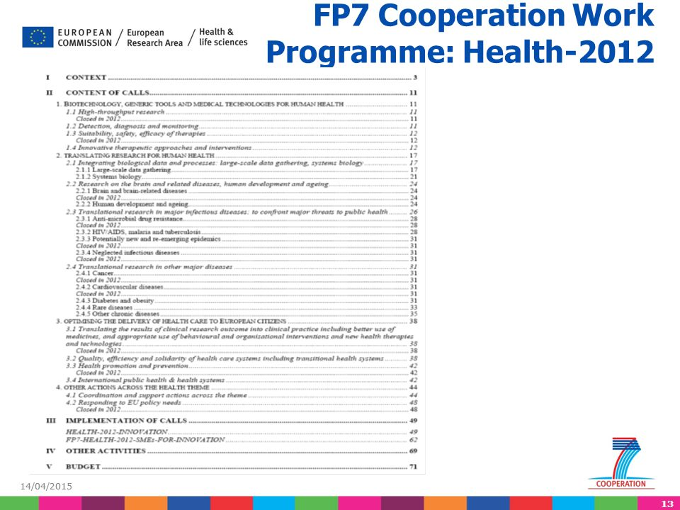 FP7 Cooperation Work Programme: Health-2012