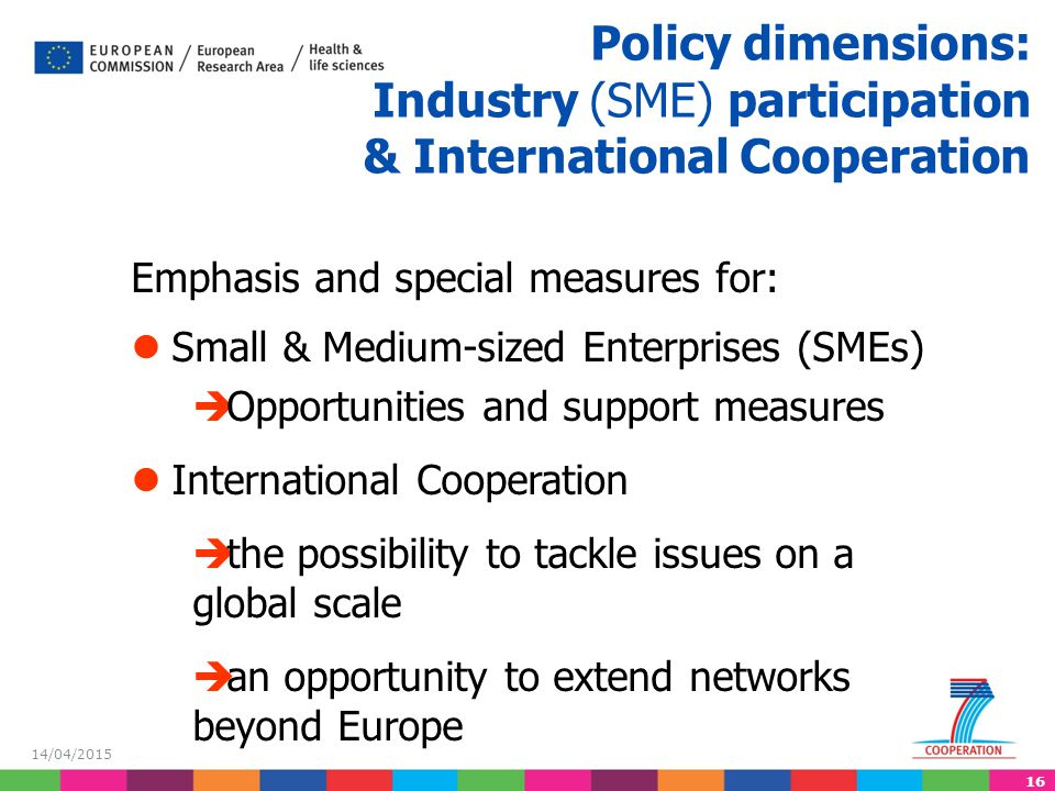 Policy dimensions: Industry (SME) participation & International Cooperation