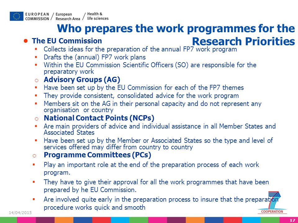 Who prepares the work programmes for the Research Priorities