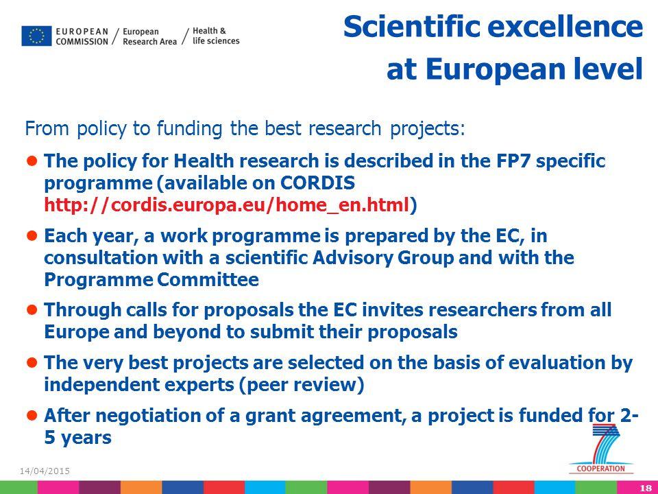 Scientific excellence at European level