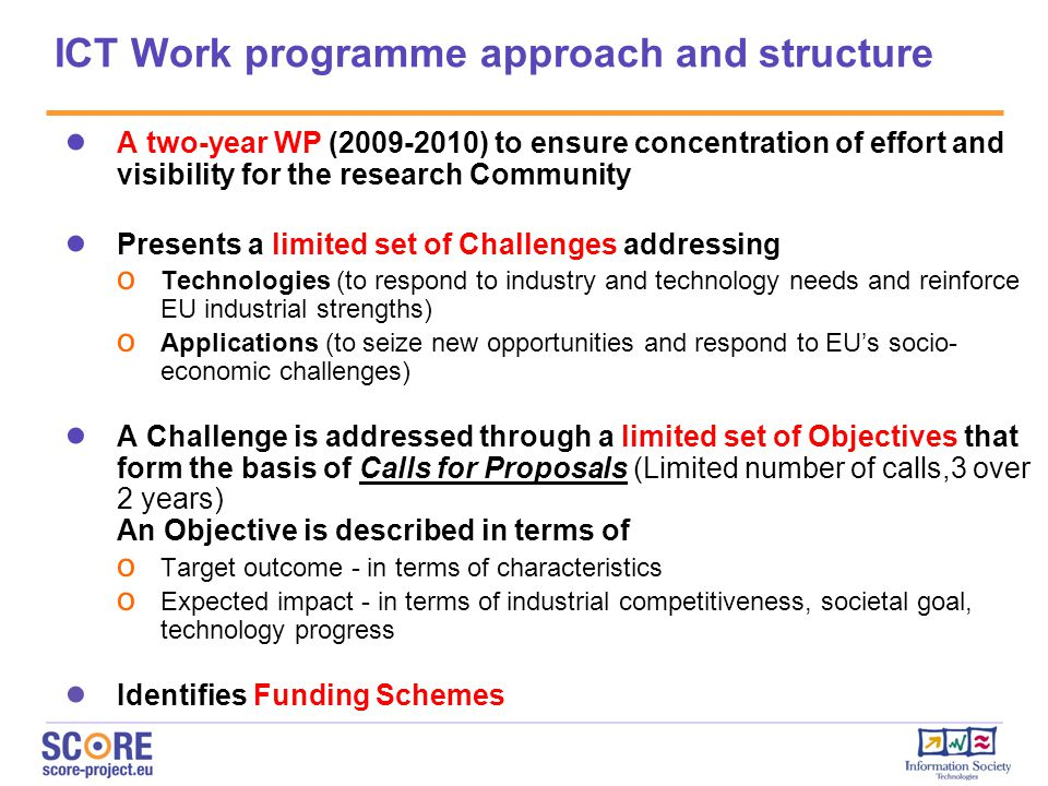 ICT Work programme approach and structure