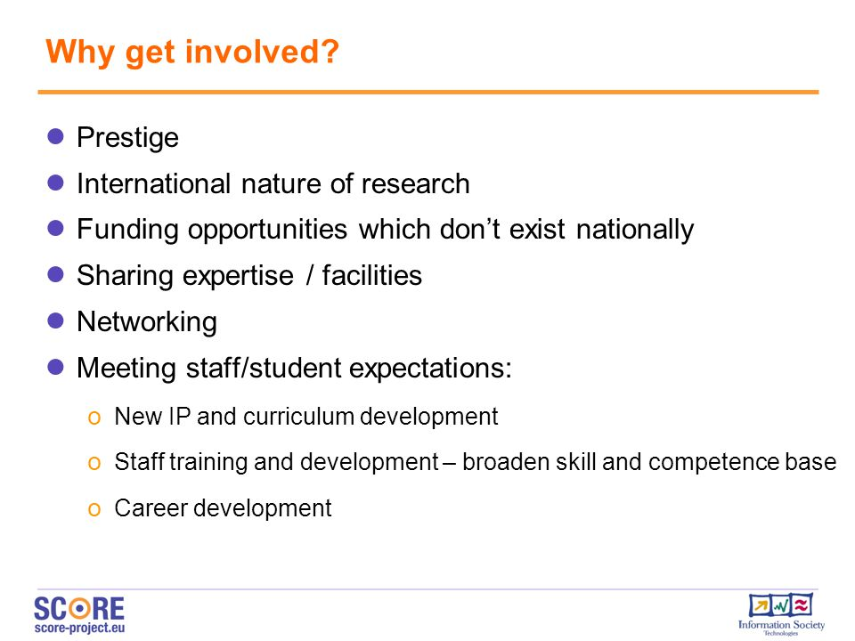 Why get involved Prestige International nature of research