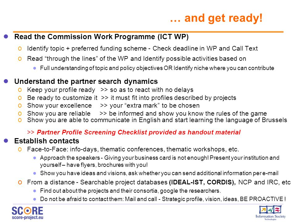 … and get ready! Read the Commission Work Programme (ICT WP)