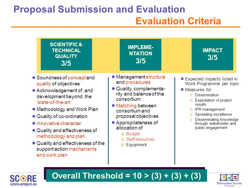 Proposal Submission and Evaluation Evaluation Criteria