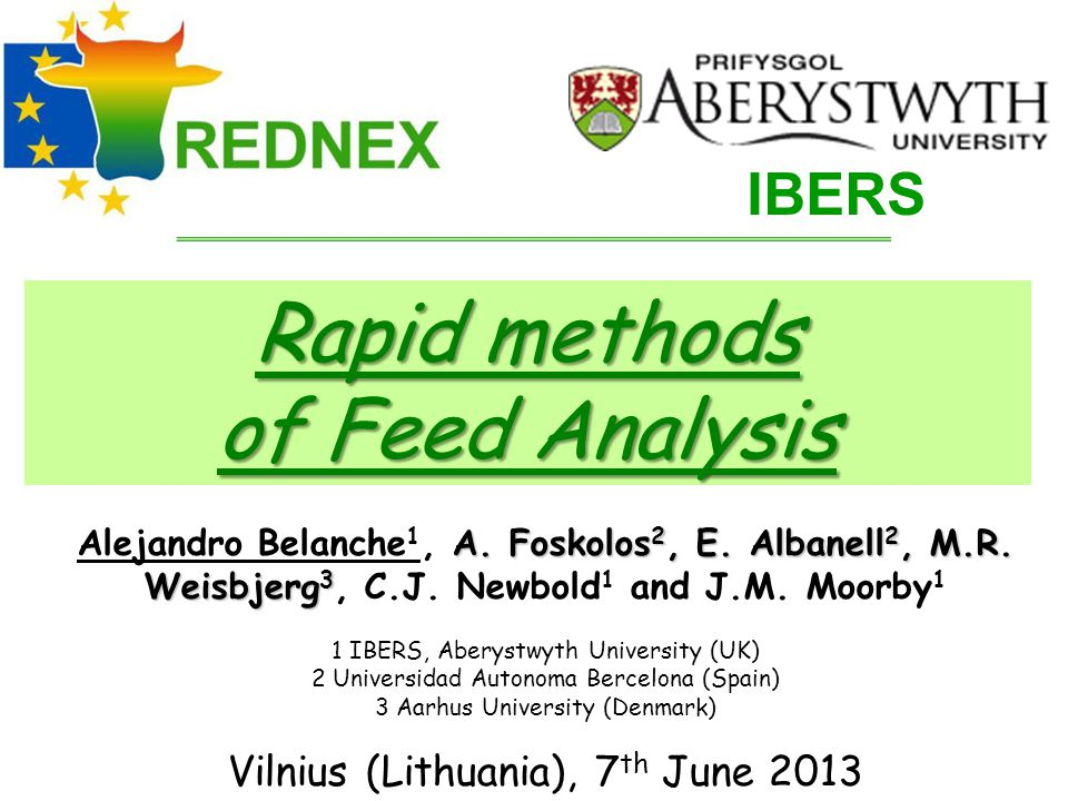 Rapid methods of Feed Analysis IBERS