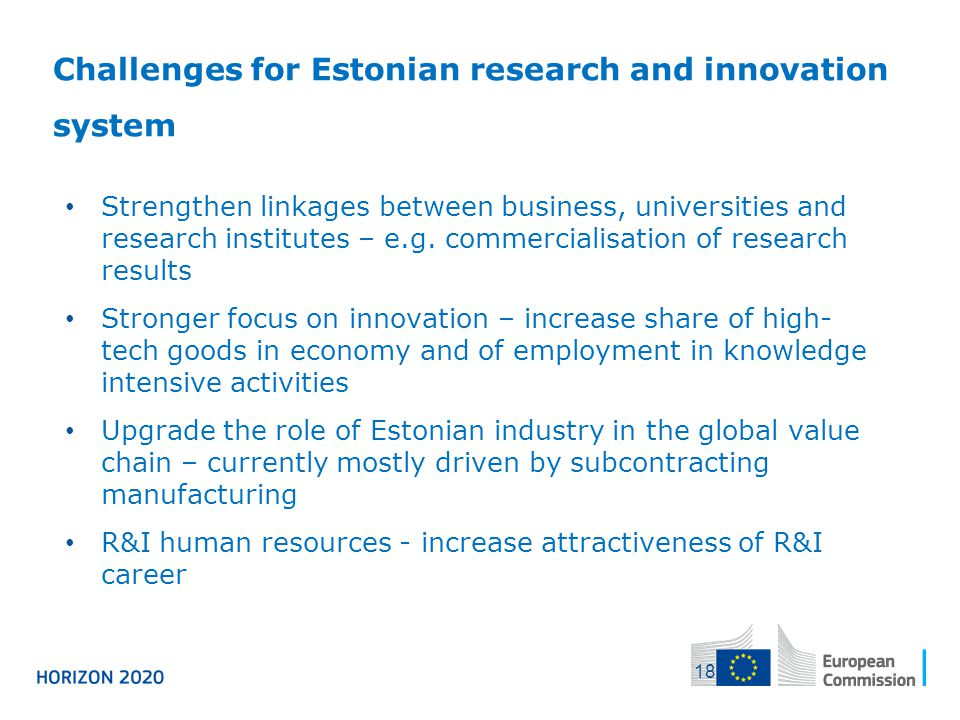 Challenges for Estonian research and innovation system