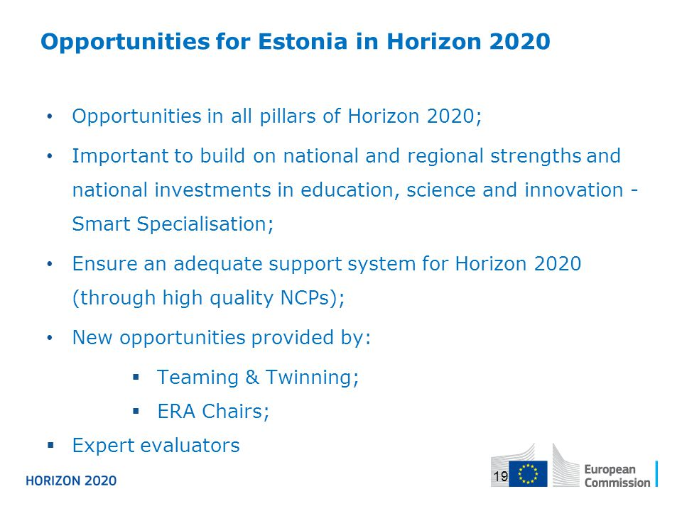 Opportunities for Estonia in Horizon 2020