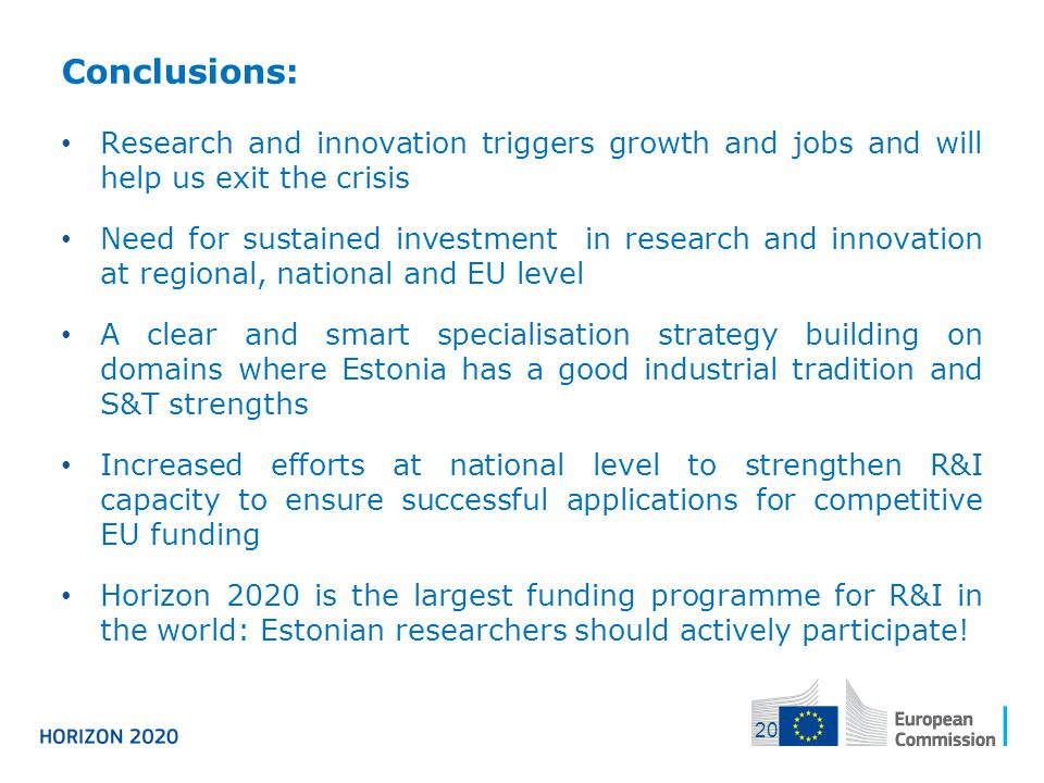 04/12/2013 Conclusions: Research and innovation triggers growth and jobs and will help us exit the crisis.