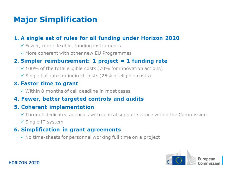 04/12/2013 Major Simplification. A single set of rules for all funding under Horizon 2020. Fewer, more flexible, funding instruments.
