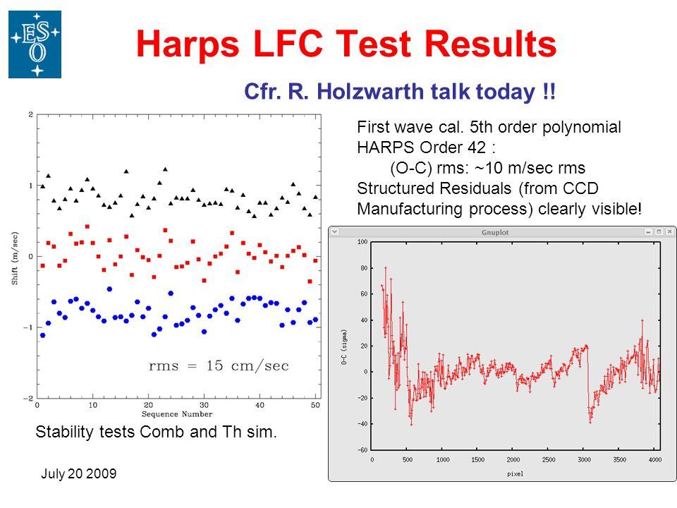 Harps LFC Test Results Cfr. R. Holzwarth talk today !!