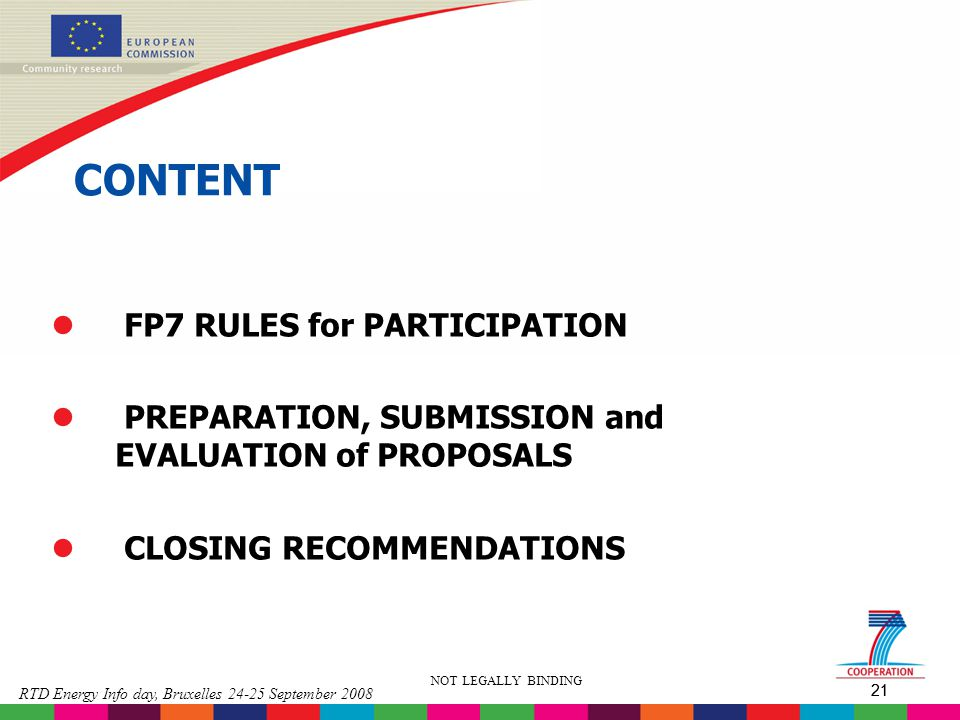 CONTENT FP7 RULES for PARTICIPATION