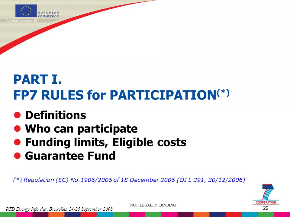 PART I. FP7 RULES for PARTICIPATION(*)
