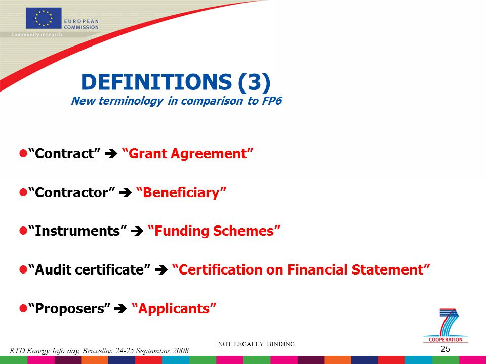 DEFINITIONS (3) New terminology in comparison to FP6