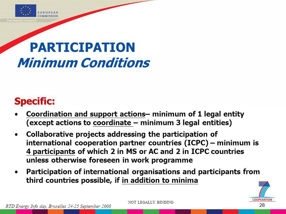 PARTICIPATION Minimum Conditions