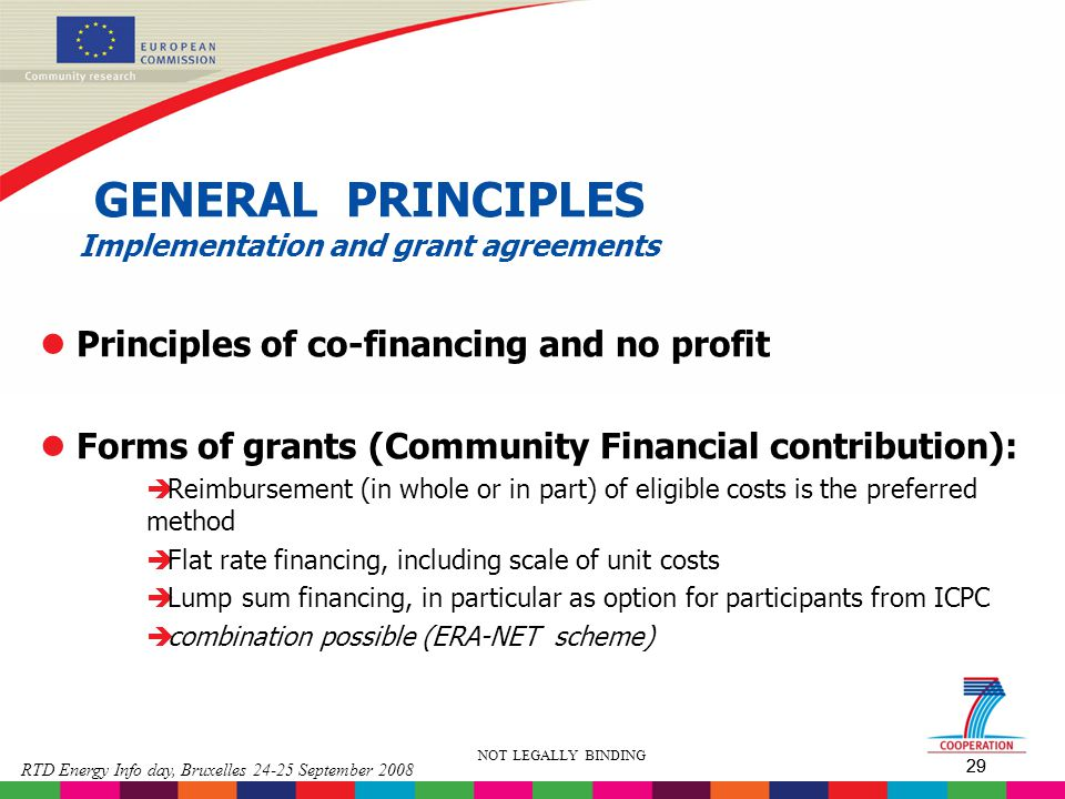 GENERAL PRINCIPLES Implementation and grant agreements
