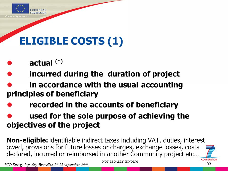 ELIGIBLE COSTS (1) actual (*) incurred during the duration of project