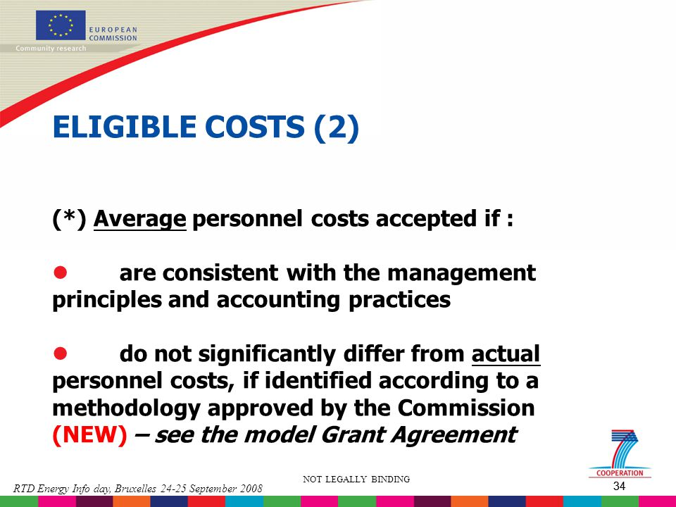 ELIGIBLE COSTS (2) (*) Average personnel costs accepted if :