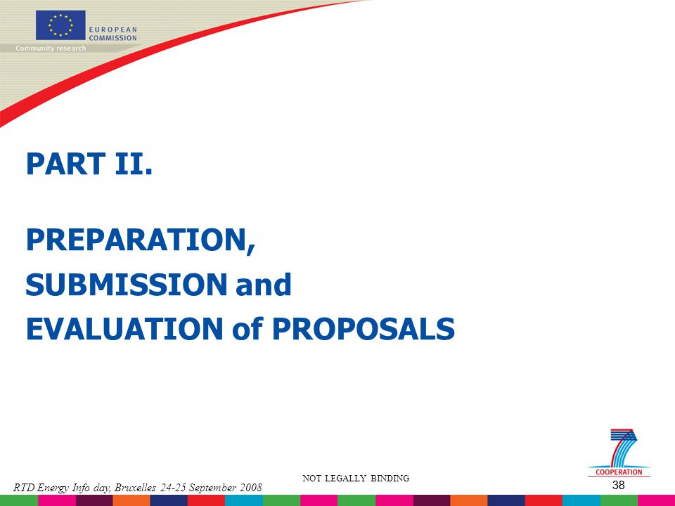 PREPARATION, SUBMISSION and EVALUATION of PROPOSALS