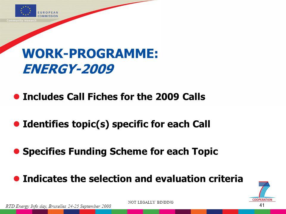 WORK-PROGRAMME: ENERGY-2009