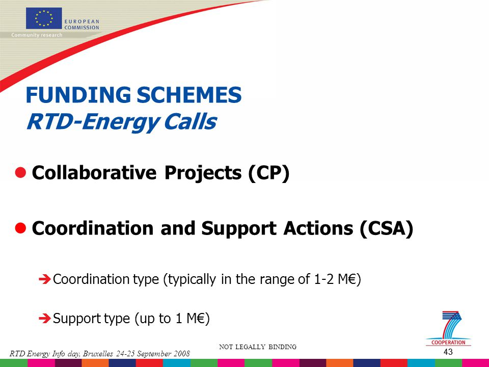 FUNDING SCHEMES RTD-Energy Calls