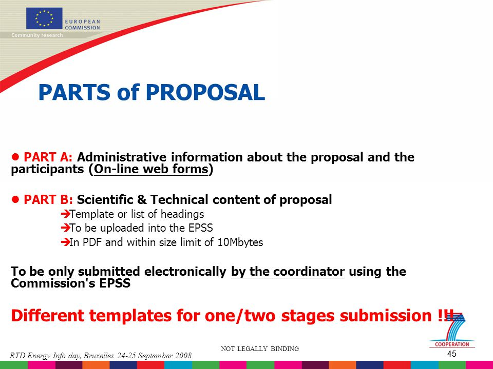 PARTS of PROPOSAL PART A: Administrative information about the proposal and the participants (On-line web forms)